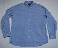 FACONNABLE Men's Shirt French Design Blue Plaid L/Sleeve Cotton Size XL #Faconnable #ButtonDown