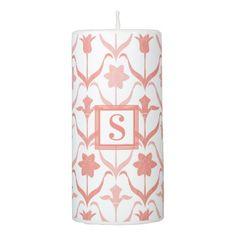 Art Nouveau Spring Bulbs  Monogram -l White Coral Pillar Candle - bridal shower gifts ideas wedding bride
