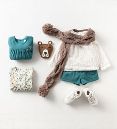 Zara Baby Girls Teal Shorts, Long Sleeve and Scarf