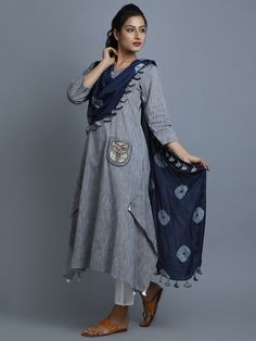 Grey Navy Cotton Kurta with Attached Tie and Dye Dupatta