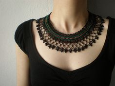 Cissus Erosa ... Beaded Crochet Necklace - Black Green Red Beadwork Collar Necklace by irregularexpressions   Flickr - Photo Sharing!