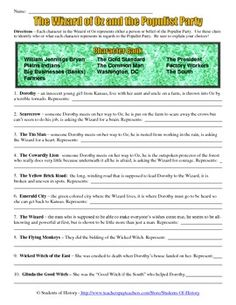 This Wizard of Oz Characters and the Populist Party Worksheet has students matching characters from the film to what they learned about the Populist era!