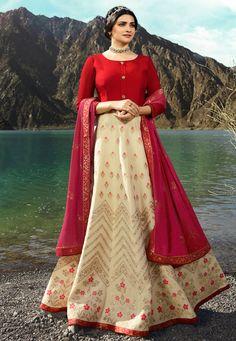e961c1e50c Buy Prachi Desai Beige Silk Floor Length Anarkali Suit 168398 online at  lowest price from huge