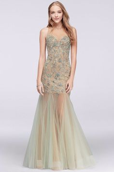 Illusion Mermaid Dress with Beaded Embellishment, $390, David's Bridal