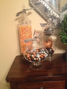 #halloweendecorating - Love filling apothecary jars with fun and festive Halloween decorations! So fun!