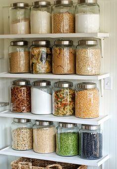 10 Pretty Ways to Organize Your Pantry - Spring Cleaning Kitchen Organization Inspiration - Kitchen Shelves, Kitchen Decor, Glass Shelves, Floating Shelves, Kitchen Design, Kitchen Jars, Kitchen Ideas, Kitchen Small, Kitchen Storage Jars