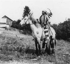 Nez Perce man named David Williams on horseback, Colville Indian Reservation, Washington, ca. 1900-1910. :: American Indians of the Pacific Northwest -- Image Portion