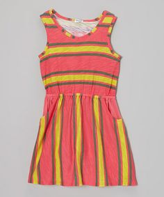 Love this Smoothie Stripe Sleeveless Dress - Girls on #zulily! #zulilyfinds