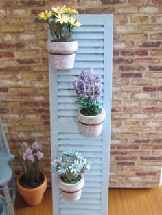 ••   Shabby Chic  Rustic Shutter Dollhouse Decoration with Potted Plants 12th Scale. Approx. size1½'' x 5''.