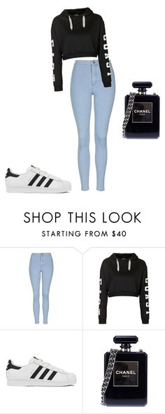 """""""Untitled #1"""" by luh-alexx ❤ liked on Polyvore featuring Topshop, adidas, Chanel, women's clothing, women, female, woman, misses and juniors"""