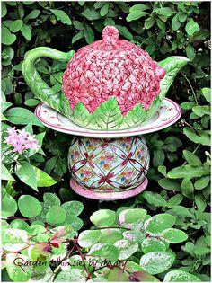 Pink Hydrangea Teapot Garden Totem Stake  by GardenWhimsiesByMary, $43.00
