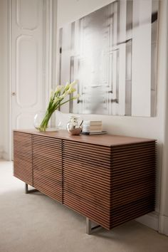 Colzani Riga Sideboard Collection - Chest of drawers with frame in solid canaletta walnut with four drawers. Sideboard Dekor, Modern Sideboard, Sideboard Ideas, Retro Sideboard, Kitchen Sideboard, Sideboard Table, White Sideboard, Buffet Tables, Sideboard Cabinet
