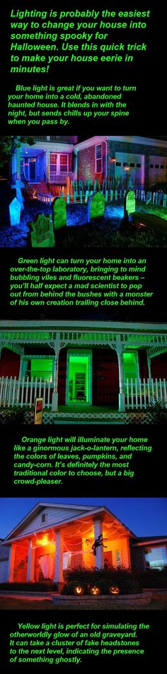 lights to make your house even spookier at Halloween! I used green bulbs in my porch light last year to make it look spooky!Use lights to make your house even spookier at Halloween! I used green bulbs in my porch light last year to make it look spooky! Halloween Prop, Halloween Town, Halloween Tisch, Halloween Outside, Halloween 2014, Halloween Birthday, Outdoor Halloween, Holidays Halloween, Halloween Decorations