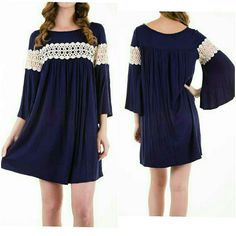 New Bell Sleeve Dress With Crochet Detail