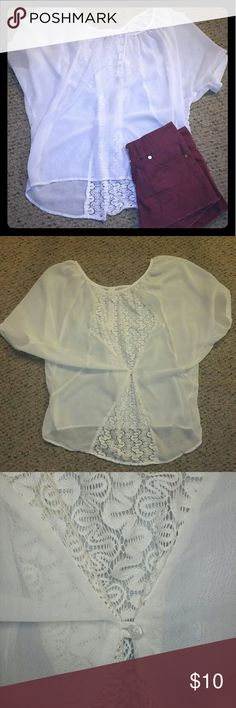 Elegant White/Cream Blouse Size medium elegant Blouse with lace contrast. Back can be buttoned as shown in 2nd picture. Material is see thru suggested to wear a tank top underneath - looks great with a maroon color - or this item would look great over a swim suit top and a pair of jeans shorts! Condition : great, barely ever worn.. no stains. Brand : Love On A Hanger. love on a hanger Tops