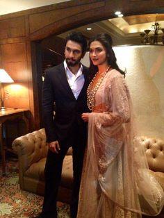 Ranveer Singh with Deepika Padukone during the film 'Ram-Leela' promotion…