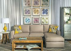 modern Moroccan living room modern couch in grey a couple of accent pillows grey area rug with decorative lines hardwood coffee table without finishing white & round top side table Moroccan decorative  of The Collections of Impressive Interior Decorator Houston for Homes