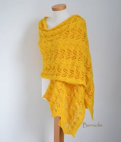 Lace knitted shawl sunny yellow M169 by Berniolie on Etsy