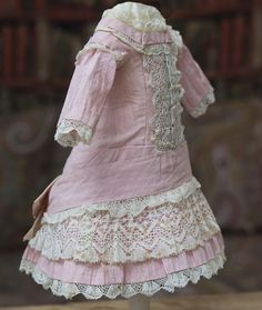 """Antique Original Pale Pink Muslin Dress for doll about 17-18"""" tall Antique dolls…"""