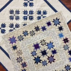 Blue and White - these stars are not hard to make and it looks wonderful the way they are placed and the fabulous quilting