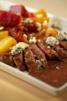 Norman Van Aken's Pan-Seared New York Strip Steak.  Pan sauce: creme fraiche, red wine and horseradish.