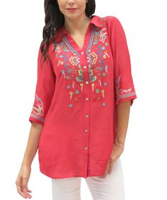 Another great find on #zulily! Coral Embroidered Emmi Button-Up Tunic - Plus #zulilyfinds