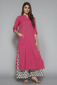 Utsa by Westside Pink Solid Kurta Salwar Designs, Kurta Designs Women, Blouse Designs, Pakistani Dresses, Indian Dresses, Indian Outfits, Mode Bollywood, Quoi Porter, Tunic Pattern