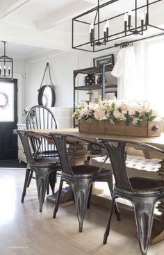 Cozy Spring Home Tour (Part 2). Farmhouse DecorMetal Farmhouse  ChairsFarmhouse Dining Room LightingFarmhouse ...