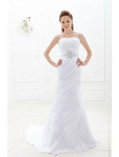 Amazing Sheath Strapless Sweep Train Chiffon Beach Wedding Dress