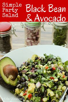 Super easy salad, dip, or taco topping ...black bean and avocado salad speaks volumes in flavor and will help you keep it simple for your next potluck or partry :: via Kitchen Stewardship