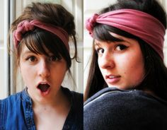 DIY head band out of an old shirt! I might do this so I have one to hike it :)