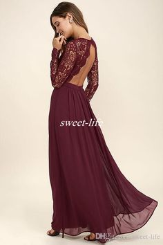 2017 Burgundy Chiffon Bridesmaid Dresses Long Sleeves Western Country Style V-Neck Backless Long Beach Lace Top Wedding Party Dresses Cheap