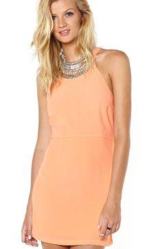 High Neck Crepe Dress - Peach