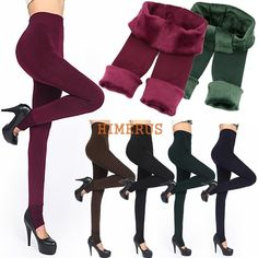 5a829ee04 Fashion 6Colors Brushed Stretch Fleece Lined Thick Tights Warm Winter Pants  Warm Leggings Black