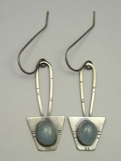 Sterling Silver and Aquamarine Trapezoid Dangle by AmorphicMetals, $55.00