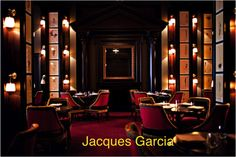 Jacques Garcia is a French interior designer, he is known in the designer world for his contemporary interiors of Paris hotels and restaurants.  Garcia created the designs for the interiors of; the tour Montparnasse in Paris, Le Méridien hotels, and the Royal Monceau à Paris.  In 2006, he designed the layout of Hotel Odéon Saint Germain in Paris and he purchased and restored the Château du Champ-de-Bataille in Normandy.
