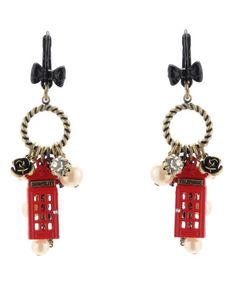 Betsy Johnson Multi Charm Linear Earrings... my two favorite things... London and Anything.