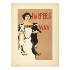 #Vintage Crazy Cat Lady Art Nouveau Postcard - #Petgifts #Pet #Gifts #giftideas #giftidea #petlovers