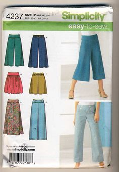 Simplicity 4237 Misses Knit Skirt 2 Lengths, Cropped Wide Leg Pants and Woven Pants and Wide Leg Shorts sewing pattern sizes 6-8-10-12-14 by Noahslady4Patterns on Etsy