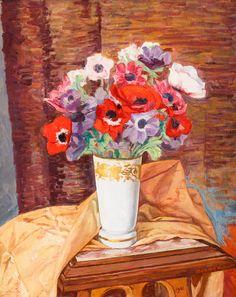 SZYMON MONDZAIN (1888 - 1979)  BUKIET KWIATÓW, 1961   olej, płótno / 41 x 33 cm