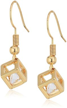 Gold Tone 3D Cube Dangle Earrings *** For more information, visit image link. (This is an affiliate link)