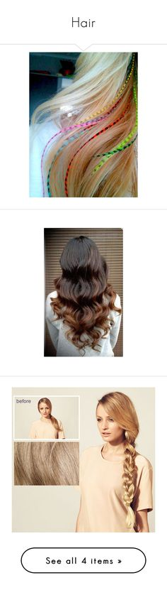 """Hair"" by grngrl03 on Polyvore featuring beauty products, haircare, hair styling tools, hair, bath & beauty, black, feather hair extensions, hair care, hair extensions and styling iron"