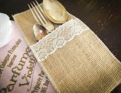 Bestecktasche aus Jute von Candelle-Nähdesign auf DaWanda.com