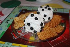 Snack idea - cheese ball dice with crackers...