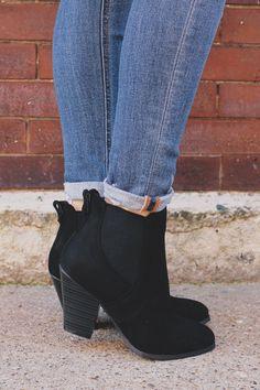 Black Faux Suede Almond Toe Slip On Booties Danielle-12