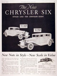 1931 Chrysler Six vintage ad. New note in style - new scale in value. Features the closed Coupe with rumble seat ($1,140) and the closed Sedan for the family ($1,150).
