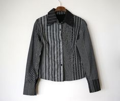 Vintage cotton shirt black and white with stripe by RosaGeranio