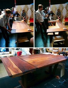 Who said transforming furniture had to look cutting-edge, sleek and modern? This rather lovely dark wood table-and-bench combination is made from recycled Bench Table And Chairs, Cool Chairs, Diy Table, Wood Table, Folding Furniture, Wood Furniture, House Furniture, Modern Furniture, Convertible