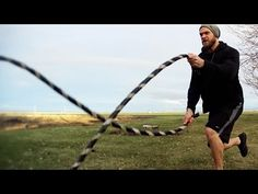 Some 'battle rope' exercises from Buff Dudes Diy Gym Equipment, No Equipment Workout, Fitness Equipment, Training Equipment, Battle Rope Workout, Backyard Obstacle Course, Rope Exercises, Battle Ropes