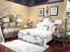 Hooker Furniture Sanctuary Bardot King Upholstered Bed 5413-90866. The Sanctuary tufted bed with mirror and silver-leaf accents is the ultimate princess bed. Bardot: Elegant silver leaf with a slightly aged patina with opulent hardware based on an 18th century French antique. Fabric: Samantha Cream (57% Rayon, 18% Polyester, 15% Cotton, 10% Linen). Clean with solvent or dry-cleaning product. Hemispheres: $2995 sale Reg $5299.